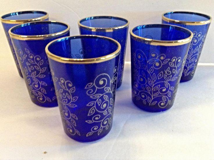 Best Morocco Tea Artisan Glass Cobalt Blue Gold Accent Set 640 x 480