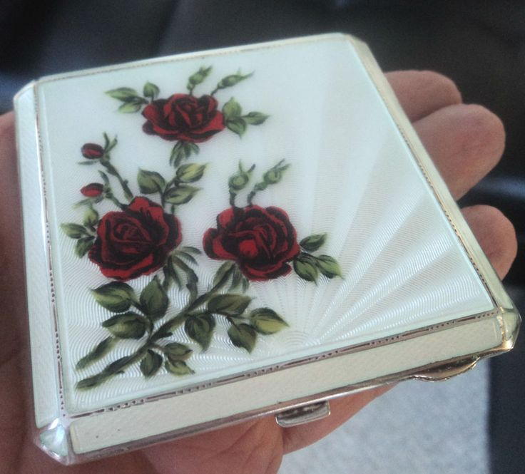 Superb Sterling Silver & Enamel Red Roses Compact - h/m 1961 Deacon & Francis