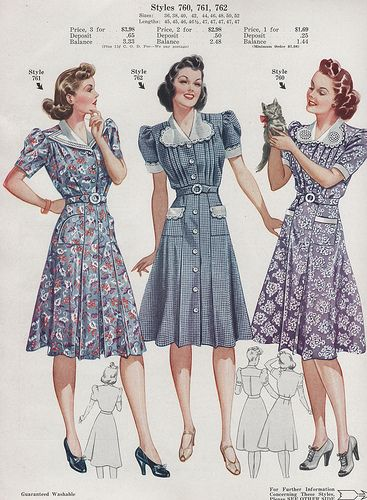 Fashion Frocks 1940 style day dress lace floral swing war era 40s color photo print ad models illustration blue black red white