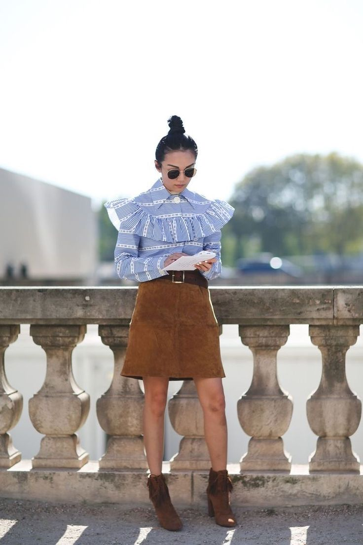 Love this victorian style blouse and the suede skirt!