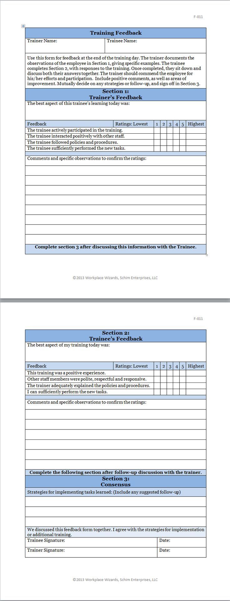 feedback forms for employees