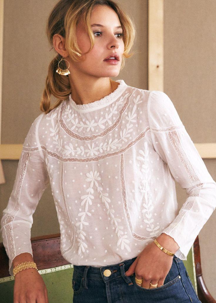 La Petite Parisienne Damen Bluse Sonie Langarm Rundhals gerade Größe XL L