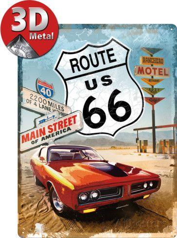 Route 66 Red Car Plaque en métal sur AllPosters.fr