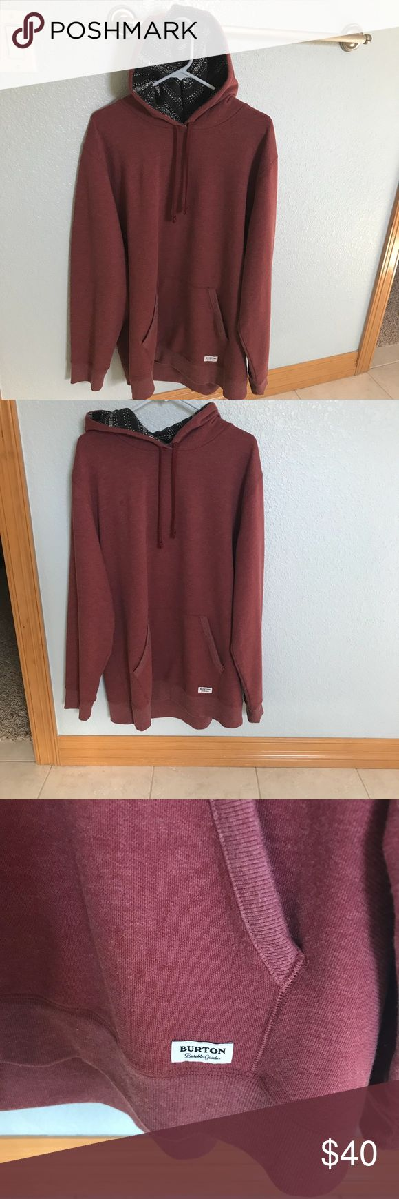 Men's Burton hoodie XL Men's hoodie xl. Only wore once. Fits a little big. A red rusty color. Thank you for your interest! Burton Shirts Sweatshirts & Hoodies