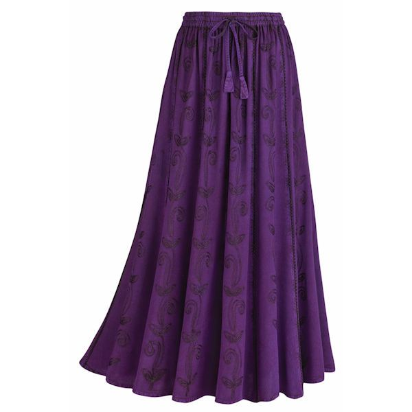 Enzyme Wash Eggplant Skirt