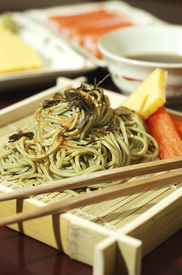 Zaru Cha Soba or cold green tea buck wheat noodles dipped in hot sauce. A refreshing japanese dish.