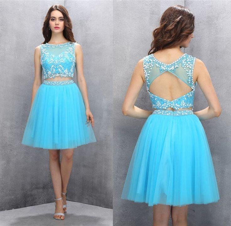2 piece Homecoming Dresses,Short Homecoming Dresses,Beading Homecoming Dresses,Royal Blue Prom Gown,Organza Prom Dresses