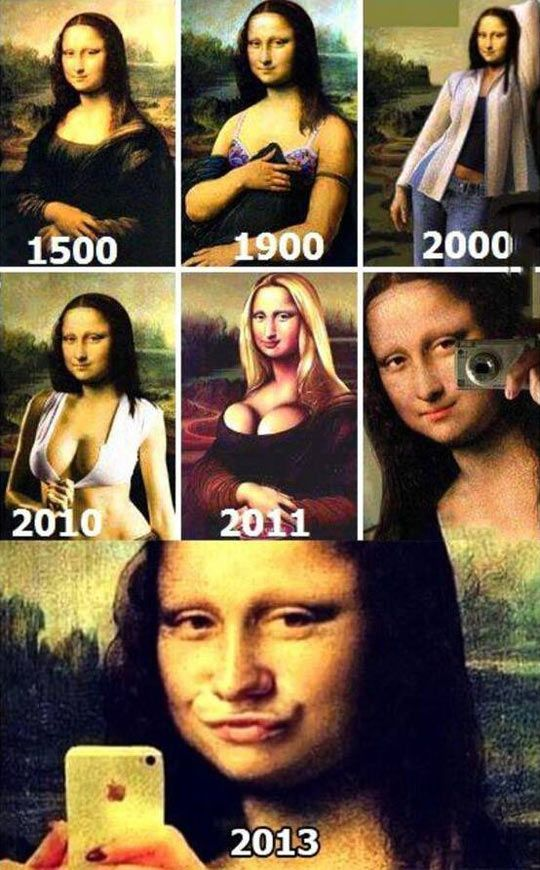 STRANGE ART FROM AROUND THE WORLD - HOW THE MONA LISA HAS AGE/PROGRESSED THROUGH THE YEARS - 6 PICTURE COLLAGE