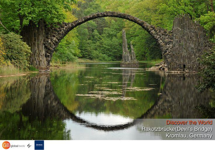 This 19th-century bridge creates a perfect stone circle when reflected in the still waters below it.  #onlinebookingsystem #FIT #Rakotzbrücke #RakotzBridge #DevilsBridge #bridge #Kromlau #Germany #discovertheworld #instadaily #todayspost #view #viewoftheday #views #picoftheday #DorakHolding #GB #GlobalBeds