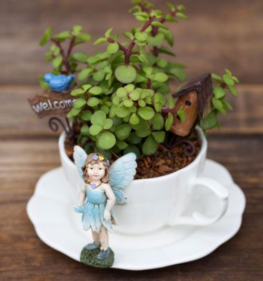 How to make a miniature teacup fairy garden // Miniatűr tündérkert porcelán csészéből elefántcserjével // Mindy - craft tutorial collection // #crafts #DIY #craftTutorial #tutorial #MothersDayCrafts #FathersDayCrafts