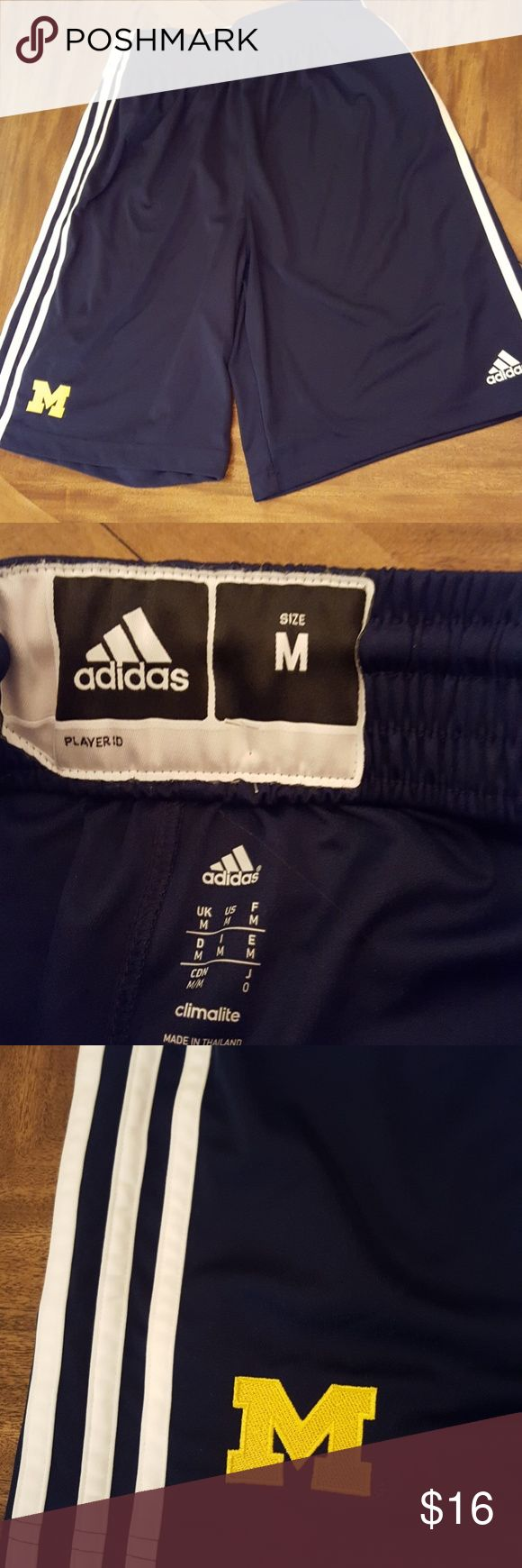 Adidas Michigan Shorts Basketball Adidas Climalite University of Michigan Shorts. Navy. Team issued. Perfect brand new condition. Drawstring.  Never worn. Adidas Shorts Athletic