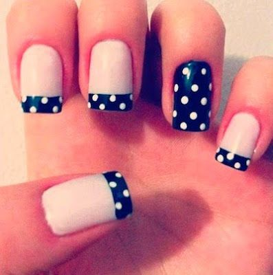 Nail Art. Dotted tips & accent nail.