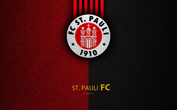 Download wallpapers FC St Pauli 4k, leather texture, German football club, logo, Hamburg, Germany, Bundesliga 2, second division, football
