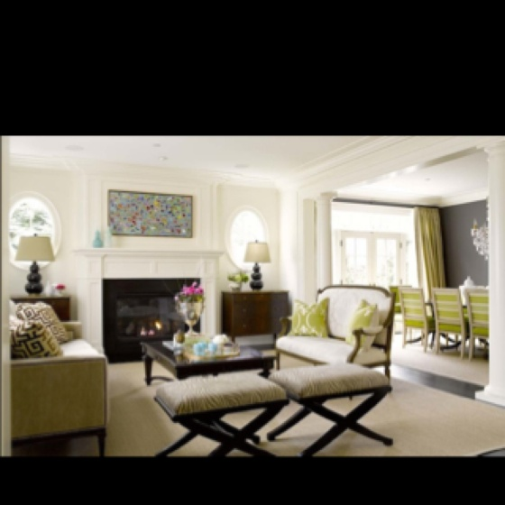 Wonderful Alex Hayden   Living Rooms   Oval Windows, Black Coffee Table, Greek Key  Pillows, French Settee, Chic Modern Frenhc Living Room Design With