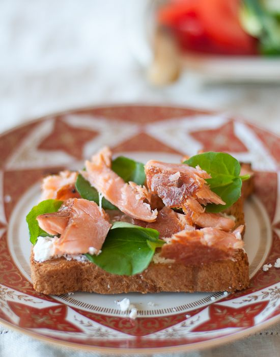 Hot Smoked Salmon (pictured with goat cheese and watercress)