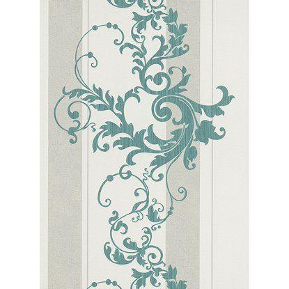 Tapéta 6858-36 gyapjúrostos csíkos barokk inda szürke-türkiz  obi6300