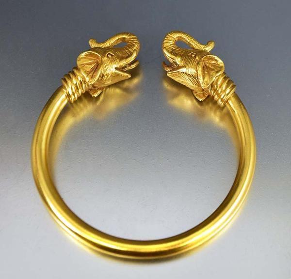 Vintage 18K Gold Plated Elephant Bracelet
