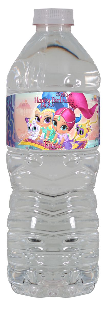 Shimmer and Shine personalized water bottle labels – worldofpinatas.com