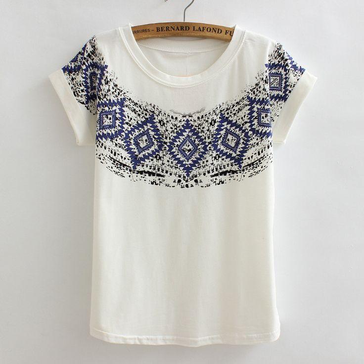HOT poleras de mujer Loose camisetas t shirts women Flag polera Vintage harajuku printed lady casual t-shirt tops CH322