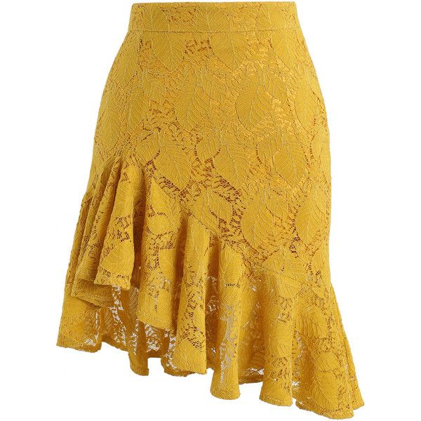 Chicwish Paradisiacal Asymmetric Frill Hem Lace Skirt in Mustard ($37) ❤ liked on Polyvore featuring skirts, yellow, lace skirt, chicwish skirt, knee length lace skirt, lacy skirt and asymmetrical ruffle skirt