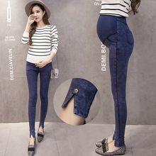2017 Pantalones Vaqueros de Maternidad Para Las Mujeres Embarazadas Más Tamaño Pantalones Vaqueros de Cintura Elástica Ropa de Embarazo Negro/azul Pantalones de Mezclilla Skinny(China (Mainland))