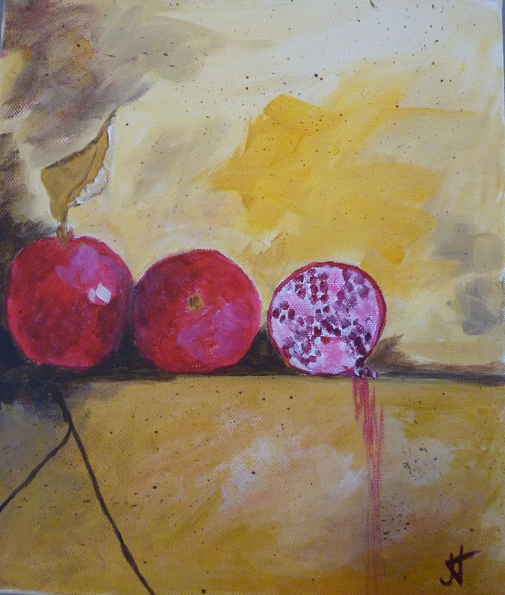 Pomegranates 2 Acrylic on canvas 10x12 in $200 each or $300 pair