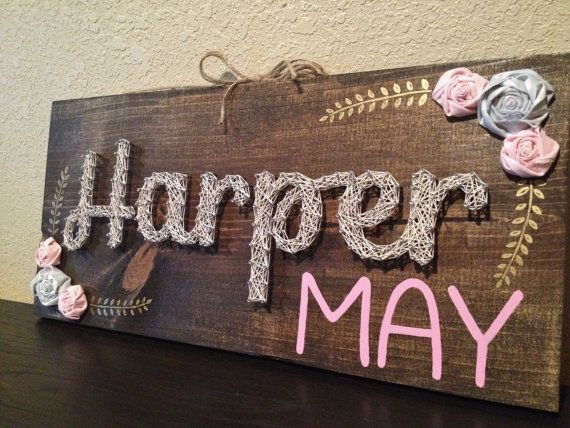 String Art Wood Sign Girl Name Nursery by BrittonCustomDesigns