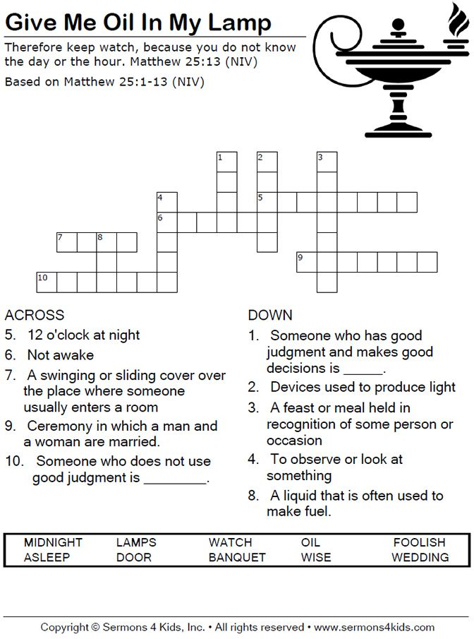 Parable of the Ten Bridesmaids - Crossword Puzzle