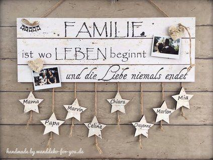 Familie Ist Wo Leben Beginnt....mit Sternen U0026 Namen Vintage,  Spruchtextschild