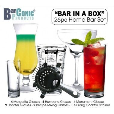 "BarConic® ""Bar in a Box"" – 26 Piece Home Bar Set"