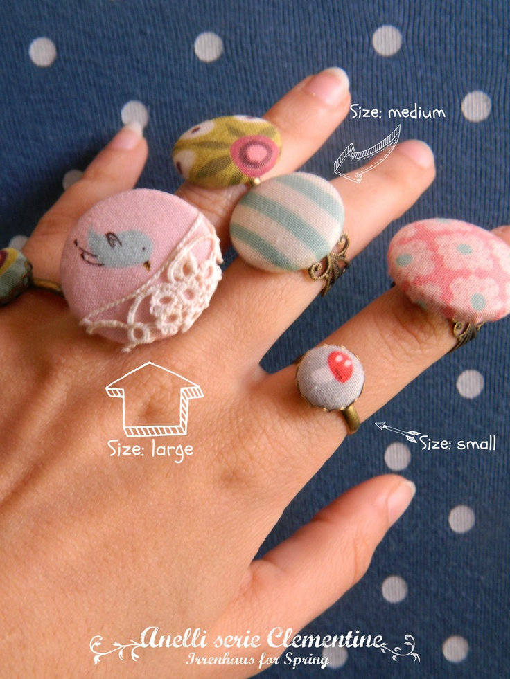 New rings Clementine series, made with fabric (designed by Aneela Hoey) in three steps.    adjustable ring base.  three bases with simple,  three bases with filigrane.    http://www.facebook.com/irrenhaus.ilbanchettovolante