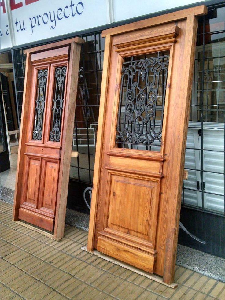 Puerta pinotea colonial de madera macizo estilo antiguo - Puertas de entrada madera ...