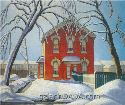 Lawren Harris,  Red House Winter Fine Art Reproduction Oil Painting
