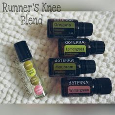 5 Amazing Benefits of Lemongrass Essential Oil Runners knee blend: 10 drops lemongrass 6 drops marjoram 7 drops wintergreen 8 drops oregano Full the rest of the way with fractionated coconut oil. Put on before and/or after your run for sore knee relief.