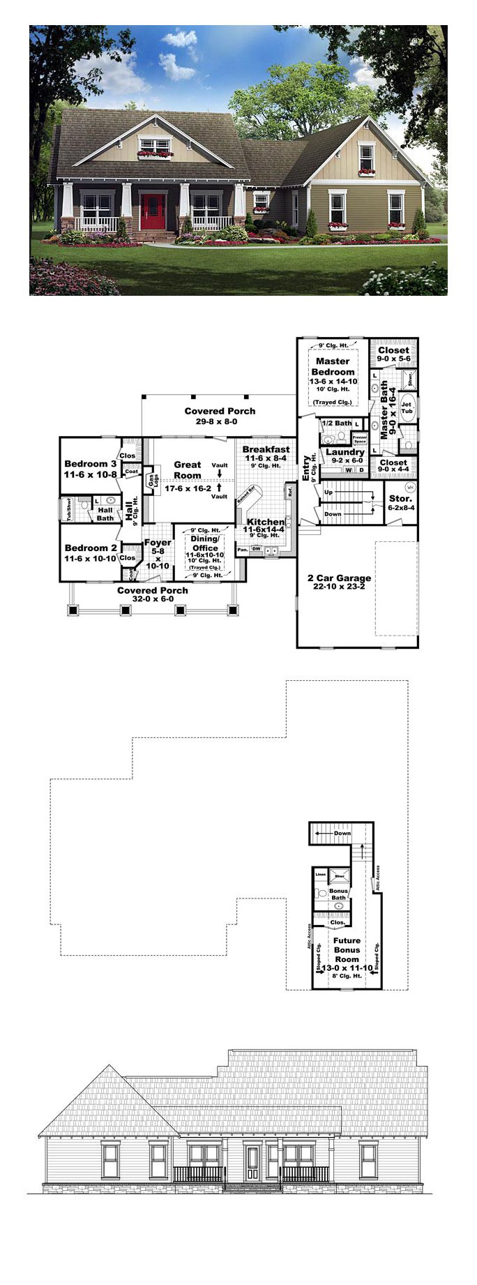 Cottage country craftsman southern house plan 59194 for Southern craftsman home plans