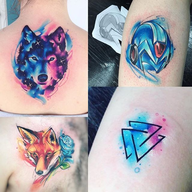 AB #tattoo #tatuaje #ab #wolf #colors #galaxy #aquarelle #lobo #zorro #triangle #megaman #anime #game