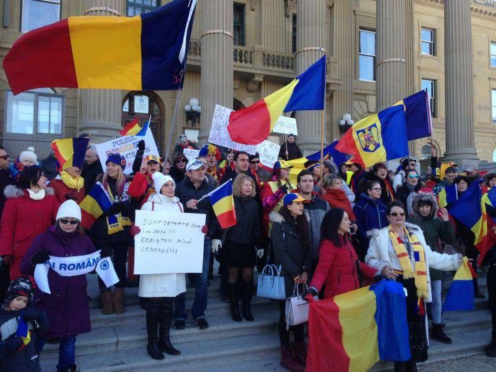Protesters gather at Alberta legislature to rally against Romanian government