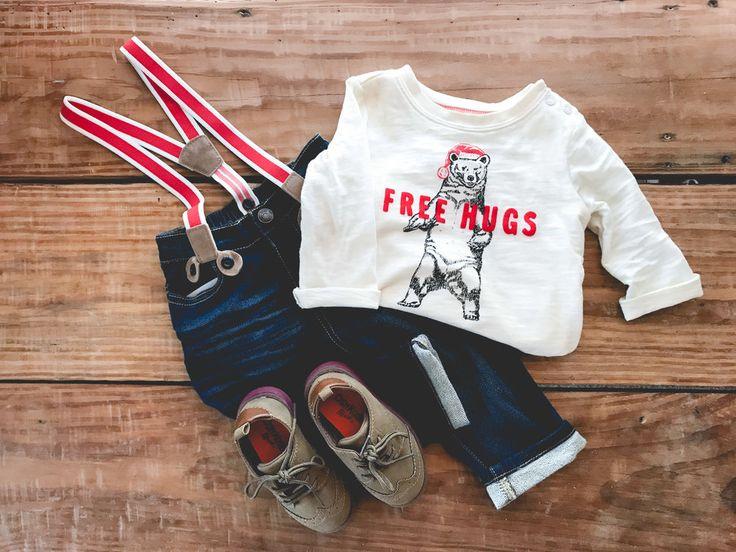 Free hugs! Shop this look by going to my blog www.SimplyKnox.co for a 25% off OshKosh B'Gosh coupon code. #bgoshbelieve #ad #kidsclothing #babyboy #holidayshopping #holidayoutfits #christmas #suspenders #freehugs #babyshoes