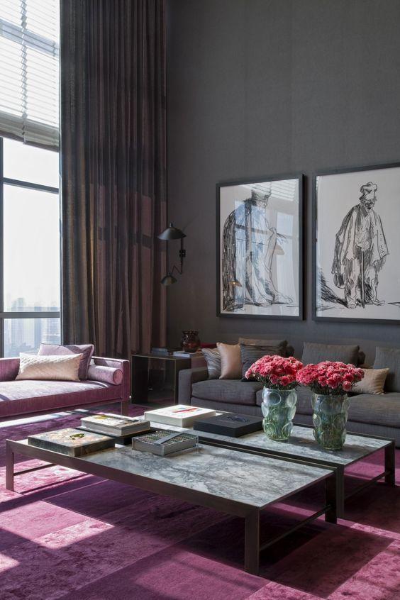 Die besten 25+ Malvenfarbenes Wohnzimmer Ideen auf Pinterest - wohnzimmer grau rot