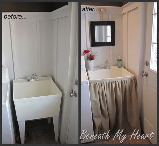 tutorial for dressing up a utility sink with a skirt |beneath my heart