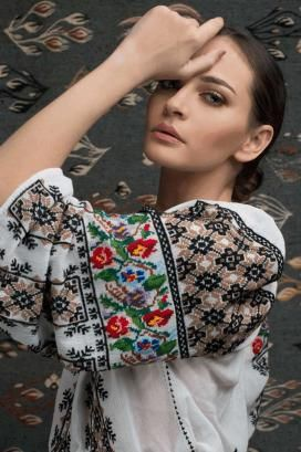 """Ie Traditionala Romaneasca Maneca Lunga Motivul Goblen. Traditional Romanian blouse called """"ie"""", hand sewn and embroidered"""