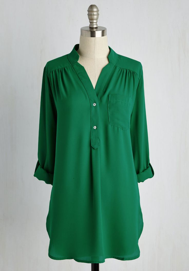 Pam Breeze-ly Tunic in Green. When you want a work wardrobe thats subtle, stylish, and a little bit romantic, make this breezy, olive green blouse your business! #green #modcloth