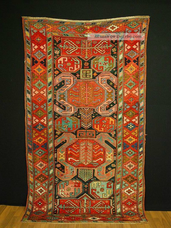 Antik Kasak Kazak Ca: 240x123cm Antique Rug SammlerstÜck Kaukasien Caucasia Teppiche & Flachgewebe Bild