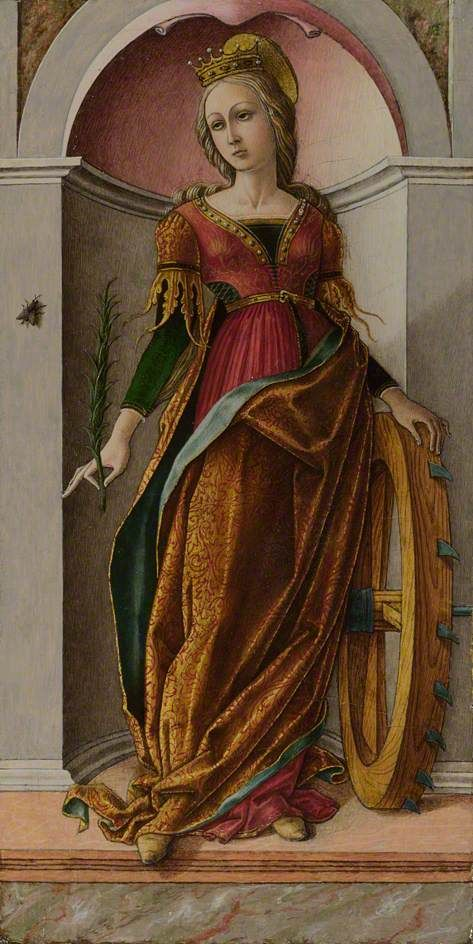 Carlo Crivelli, St. Catherine of Alexandria, c. 1491-94 Whoa, could this dress be any cooler? It has those slits in the sides, lacing, and totally awesome sleeves!