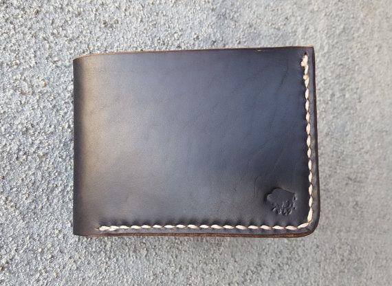Black Leather Wallet  Men's Wallet  Horween by BuffaloLeatherGoods