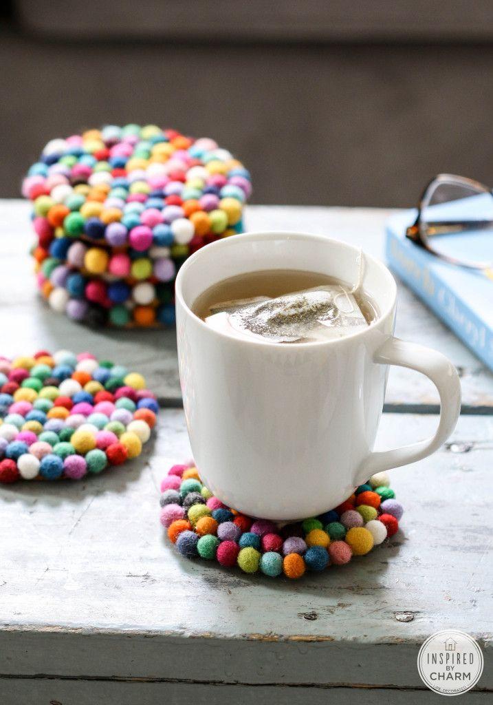 DIY Wool Felt Ball Coasters via InspiredbyCharm