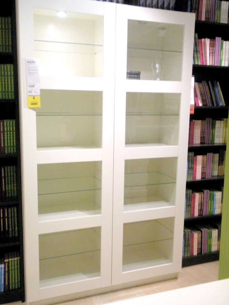 Awesome ikea bookshelves with glass doors appealing new for Glass bookcase ikea