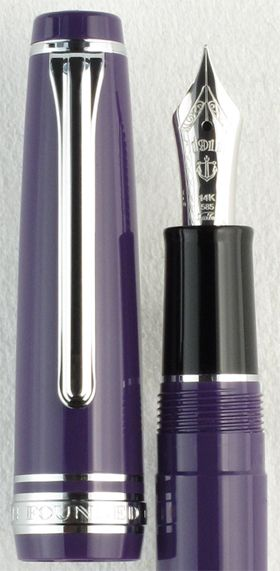 Sailor Sapporo Blue Berry with Rhodium Trim. Perhaps one of the most attractive Sapporo series pens yet, the Sailor Sapporo Blue Berry offers rhodium trim on a rich blue resin body. This is a more muted color than the Sapporo purple with rhodium trim. This pen is reminiscent of fresh, juicy blueberries on a hot summer day--just in time for the season. As always, Sailor pens offer terrific value and an excellent writing experience. Our price just $156 for this comfortable mid-size writer.