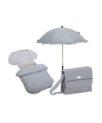 Bebecar Matching Changing Bag, Footmuff And Parasol In Mystic Grey-I would like in navy