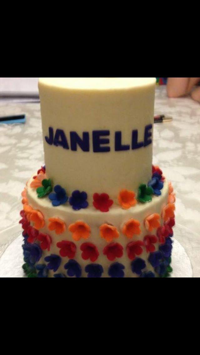 Two tier flower cake with tmnt inspired colours!#birthdaycake #tmntcake #tmntparty #tmntbirthday #surreycakes #bccakes #surreybccakes #vancouvercakes #vancouvercustomcakes